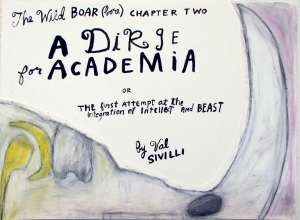 "A Dirge for Academia - COVER , 11x15"", Ink, Graphite, Oil Stick on Paper"