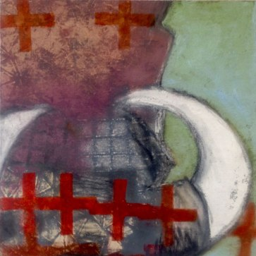 """SOLD""""Red Cross"""" 15"""" x 15"""" Acrylic and Oil on Canvas"""