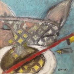 """""""Warrior"""" 15x15"""" Acrylic and oil on canvas"""