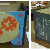 Screenprinted Wooden Box Built and printedby the Student.