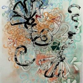 """22x30"""" Screenprint, Monoprint with Gouache, chalk pastel on BFK Rives"""