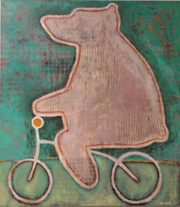 """SOLD """"Bear on a Bicycle"""" Acrylic on Canvas, 30x34"""" 2016"""