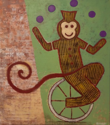 "SOLD ""Juggling Monkey"" Acrylic on Canvas, 30x34"" 2016"