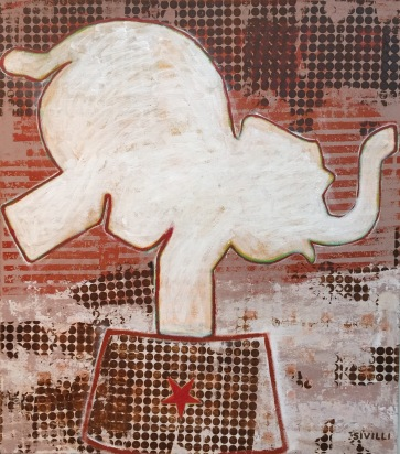 """Balancing Elephant"" Acrylic on Canvas, 30x34"" 2016"