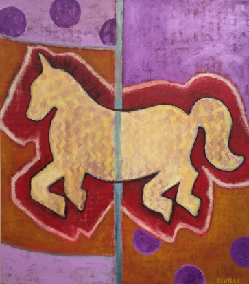 """SOLD """"Horse in a Merry-Go_Round"""" Acrylic on Canvas, 30x34"""" 2016"""