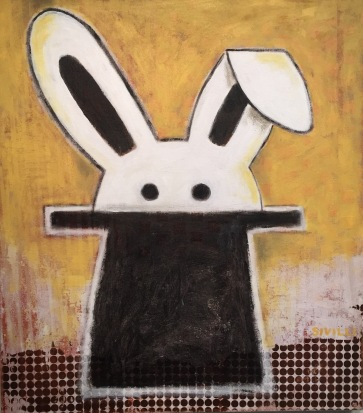 """""""Rabbit in a Hat"""" Acrylic on Canvas, 30x34"""" 2016"""