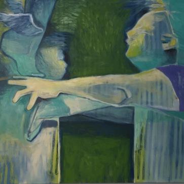 """Val Sivilli Acrobat"" 3 oil on canvas, 48x52"", 2017"