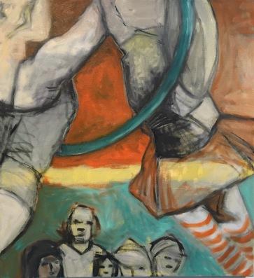 """Val Sivilli """"Trapeze 3"""". 28x30"""" oil on canvas 2017"""