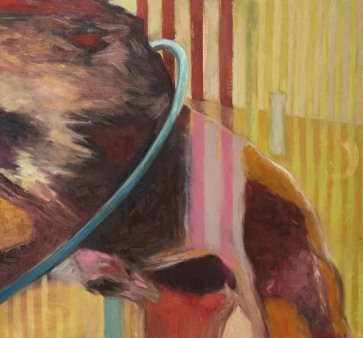 "Lion and Hoola Hoop • 32 x 34""• Oil on Canvas 2017"
