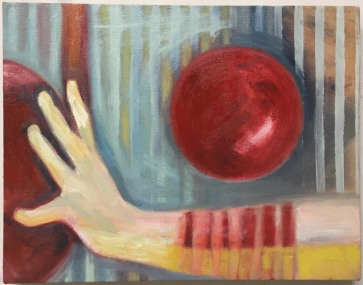 Red Ball in Balance 14 x 18 Oil on Canvas 2017