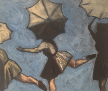 3 on a wire with umbrellas