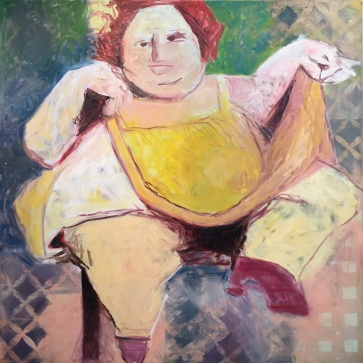 """FAT LADY, 54""""x54"""" Oil and Acrylic on Canvas 2016"""