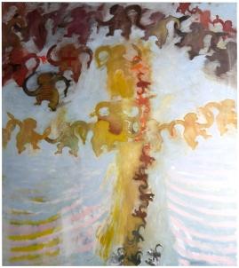 "Val Sivilli ""BARREL OF MONKEYS - 2"" 2019 oil on canvas 54x60"""""