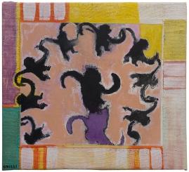 "Val Sivilli ""CIRCLE DANCE"" 2019 acrylic-on canvas 16x16"""
