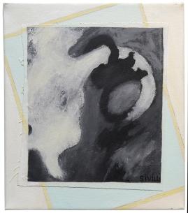 "Val Sivilli ""HANGING ON"" 2019 acrylic-on canvas 12x14"""