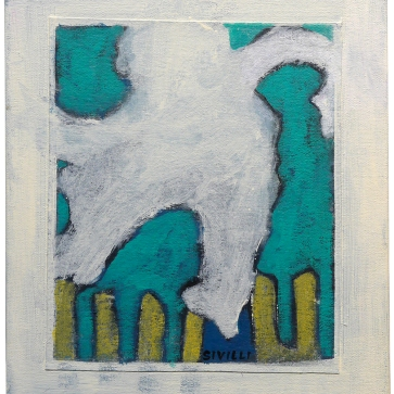 "Val Sivilli ""SLIPPING or BALANCING"" 2019 acrylic-on canvas 12x14"""