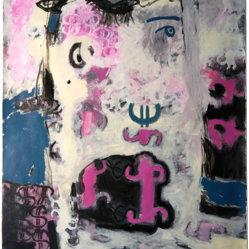 """Val Sivilli """"BOTH SIDES of the MOUTH"""" 2019 acrylic on paper 44x52"""""""
