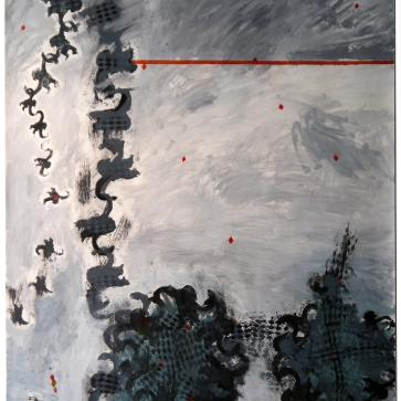 """Val Sivilli """"THE RED LINE"""" 2019 acrylic on paper 44x52"""""""