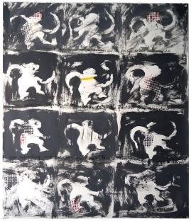 "Val Sivilli ""DOZEN DANCING MONKEYS"" 2019 acrylic on paper 44x52"""