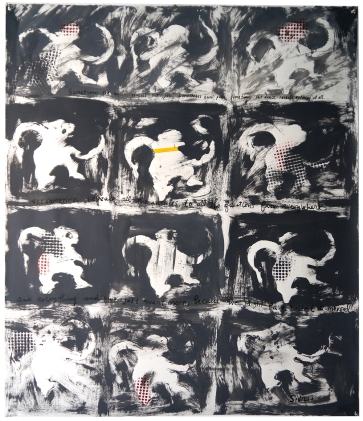 "Val Sivilli ""DOZEN DANCING MONKEYS"" 2019 acrylic on paper 44x52"""