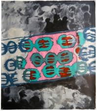 "Val Sivilli ""RIVER of EUROS"" 2019 acrylic on paper 44x52"""