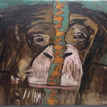 "Val Sivilli ""Interior Wall 2"" 42x44 Oil on canvas 2019"