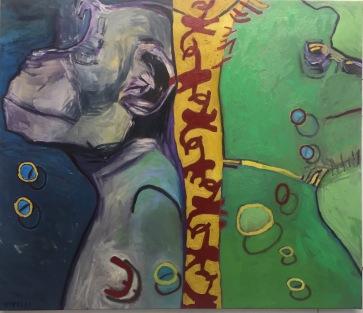 "Val Sivilli ""TAGGED 2"" 42x44Oil on canvas 2019"